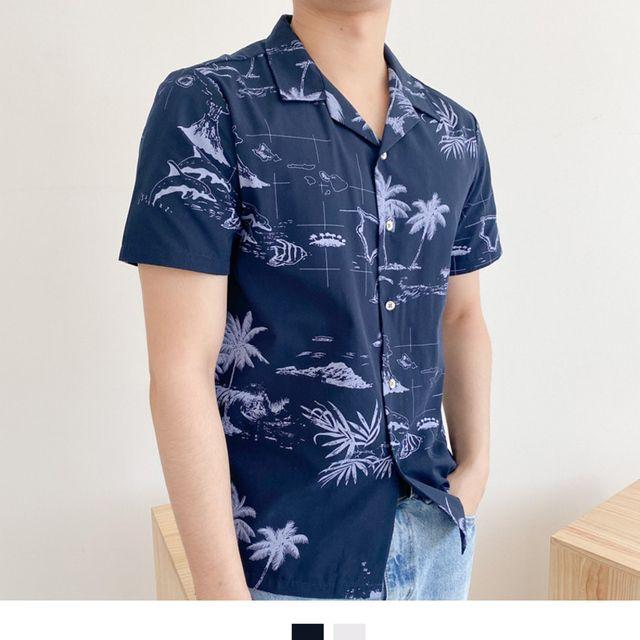 W 하와이안 하프 남성셔츠