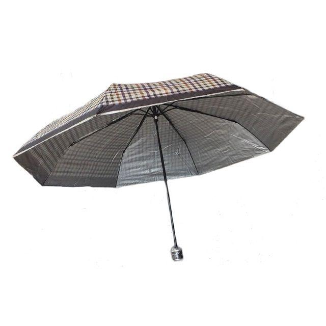 장마철 대비 접이식 휴대용 3단 체크실버 반자동 우산