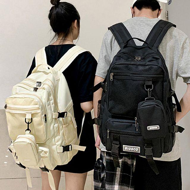 W 포켓 메쉬 포인트 남성 여성 캐주얼 백팩 큰가방