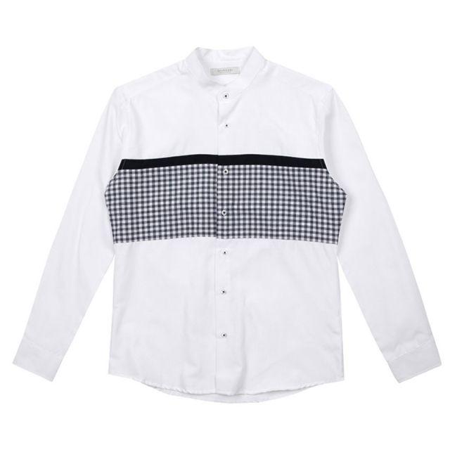 남자셔츠 차이나카라 체크 배색 셔츠 J0417004