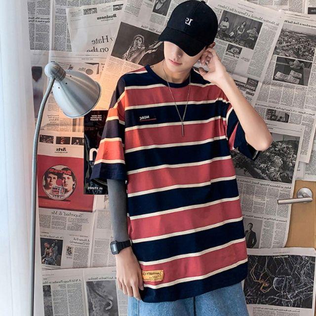 W 남성 반팔티셔츠 스트라이프 줄무늬 패션룩 캐주얼룩