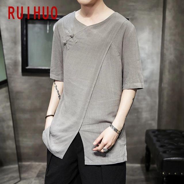 [해외] RUIHUO 빈티지 T 셔츠 남성 의류 일본 Streetwear 남