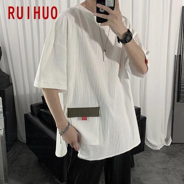 [해외] RUIHUO 2020 새로운 반팔 T 셔츠 남성 tshirt 남성 여