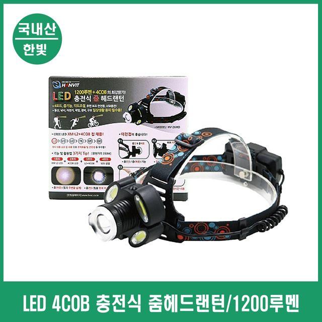 USB 충전식 줌기능 헤드랜턴 LED램프 레져 경비 현장