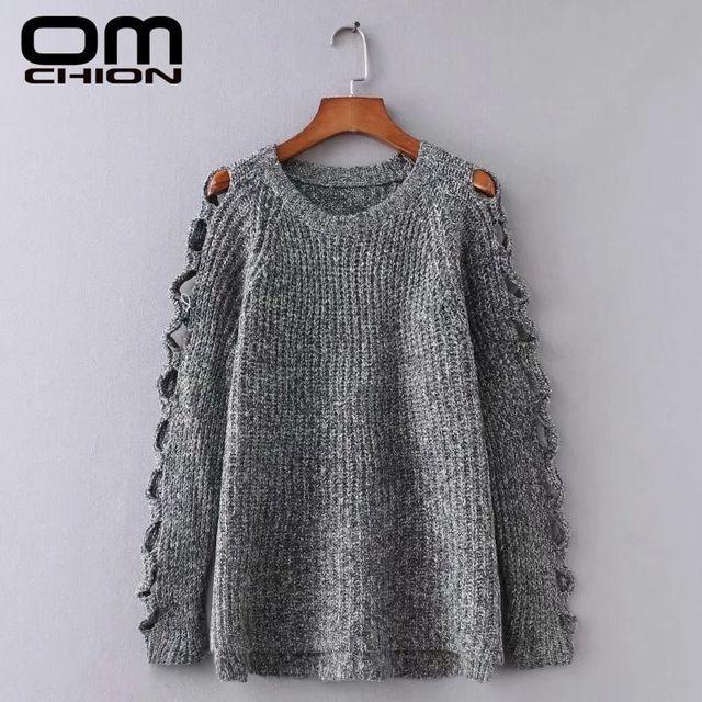 [해외] OMCHION Pull Femme 2021 가을 O 넥 한국 여성 스웨터