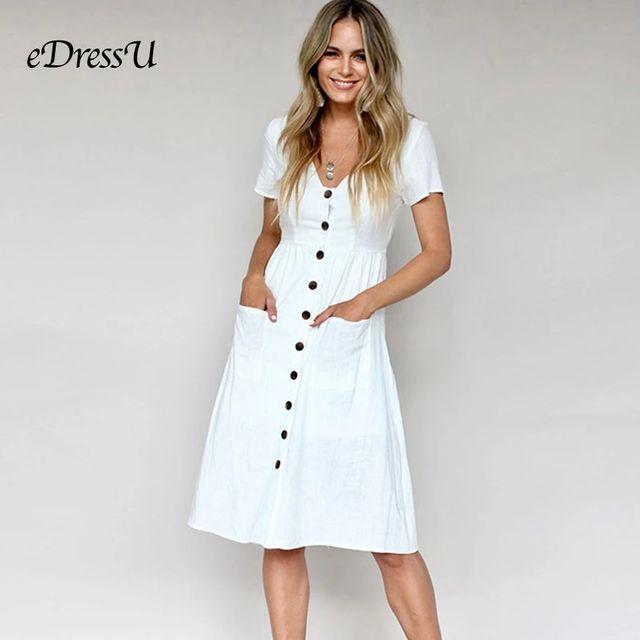 [해외] 9 색 여름 캐주얼 드레스 화이트 탄성 짧은 소매 v 목