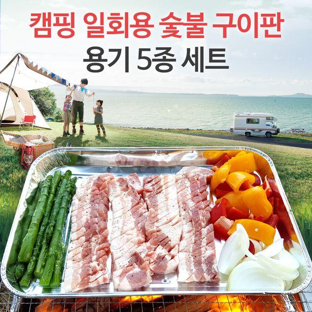 캠핑 일회용 숯불 구이판 용기 5종 세트