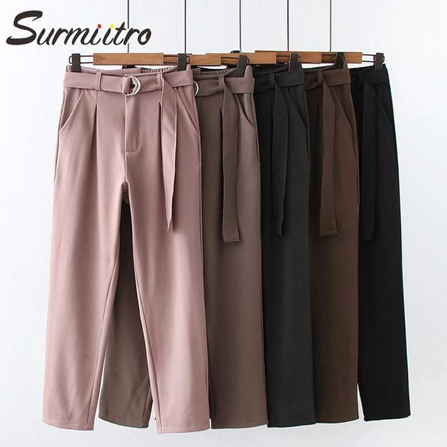 [해외] SURMIITRO 캐주얼 롱 양복 바지 여성 2021 봄 여름 숙