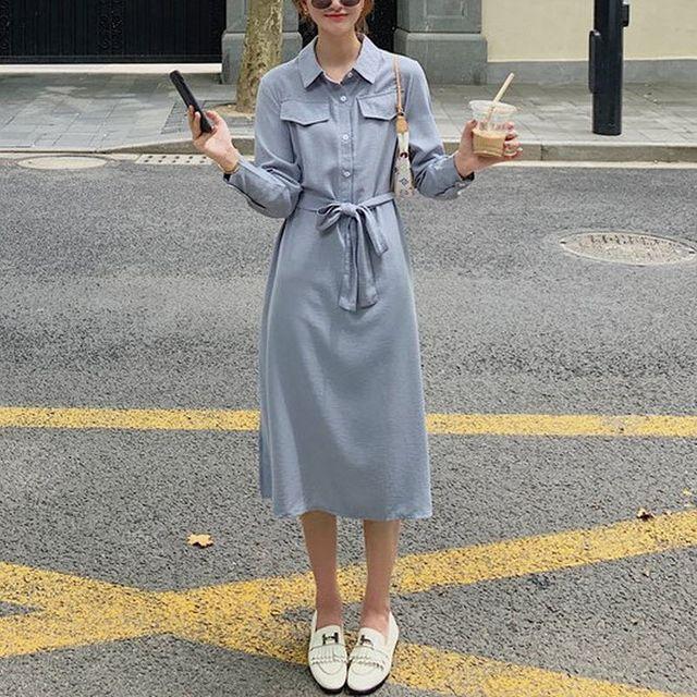 W 리본끈 모던 데일리 봄 여성 스트링 셔츠 롱원피스