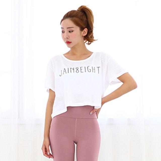 제인에잇 크롭 티셔츠 요가상의 운동복 트레이닝복 헬스복 요가복 루즈핏티 에어로빅복 운동복상의