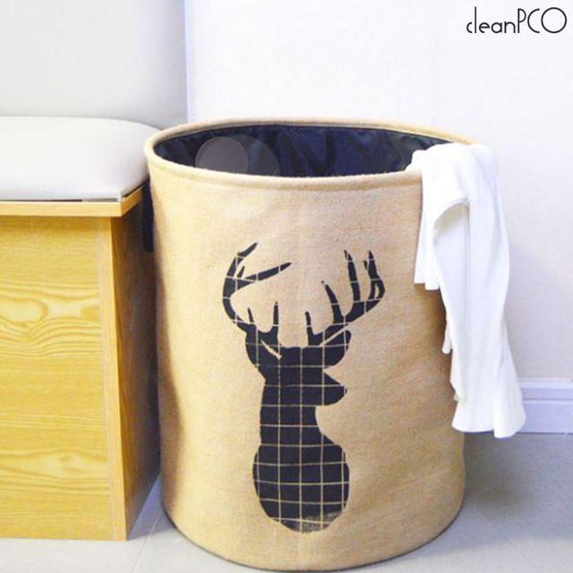 라운딩빨래바구니 패브릭제품 인테리어효과 사슴그림