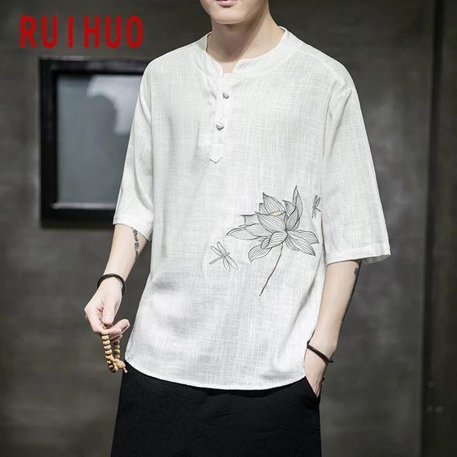 [해외] RUIHUO 로터스 자수 빈티지 T 셔츠 남성 의류 블랙 T