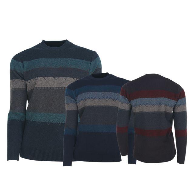 W TCC_페라어스 남성 배색 니트 라운드 골프셔츠 CTRV2