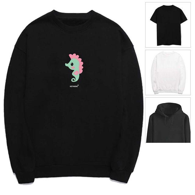 W 키밍 해마 여성 남성 티셔츠 후드 맨투맨 반팔티