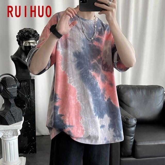 [해외] RUIHUO Tie-dye 캐주얼 T 셔츠 남성 의류 남성 T 셔츠