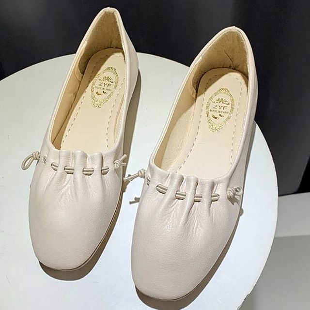 W 고무줄 주름 포인트 편한 여자 나들이 신발 플랫슈즈