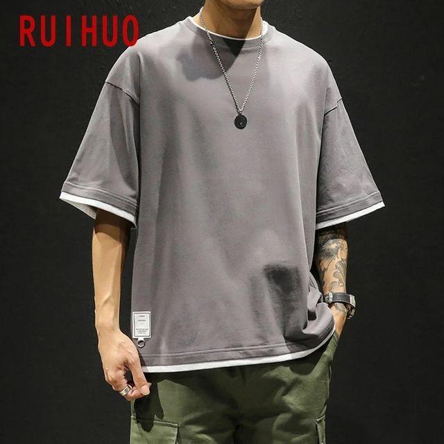 [해외] RUIHUO 하프 슬리브 빈티지 T 셔츠 남성용 탑스 하라