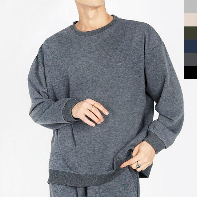 W 봄 가을 데일리 홈웨어 남성 오버핏 맨투맨 티셔츠
