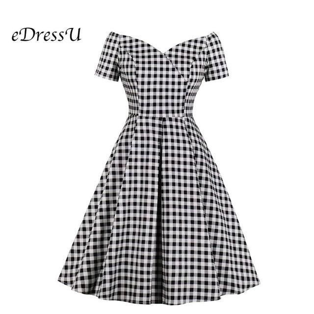 [해외] Edressu 격자 무늬 bateau 우아한 빈티지 드레스 여성