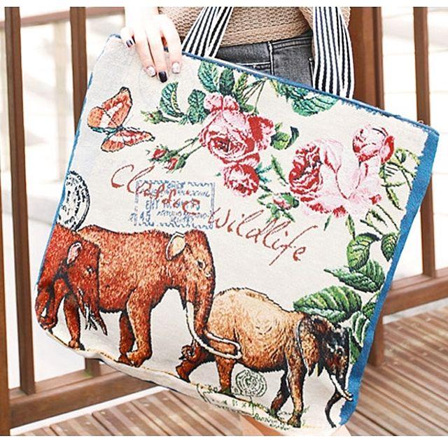 숄더백 패션가방 자수에코백 코끼리가족 A322