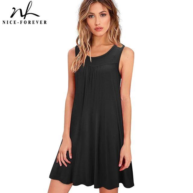 [해외] 니스-영원히 여름 여성 패션 솔리드 컬러 드레스 캐주