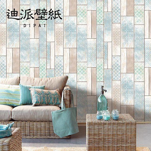 [해외] 실크벽지 푸른 나뭇결 벽