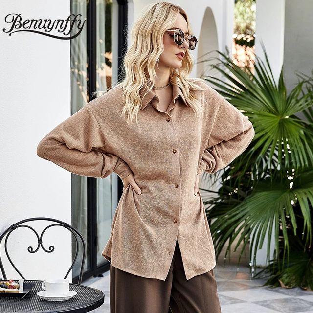 [해외] Benuynffy Turndown Collar 솔리드 버튼 업 셔츠 2021
