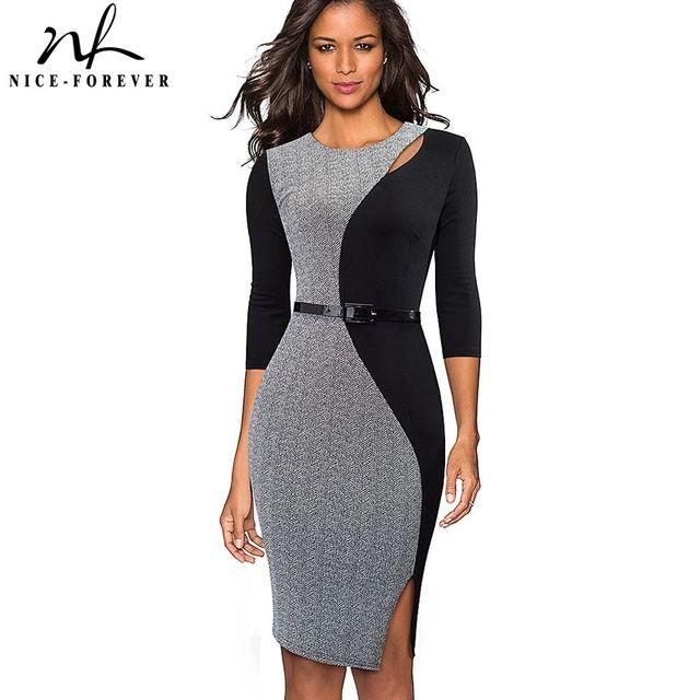 [해외] 니스-영원히 빈티지 대비 색 패치 워크 착용 vestidos