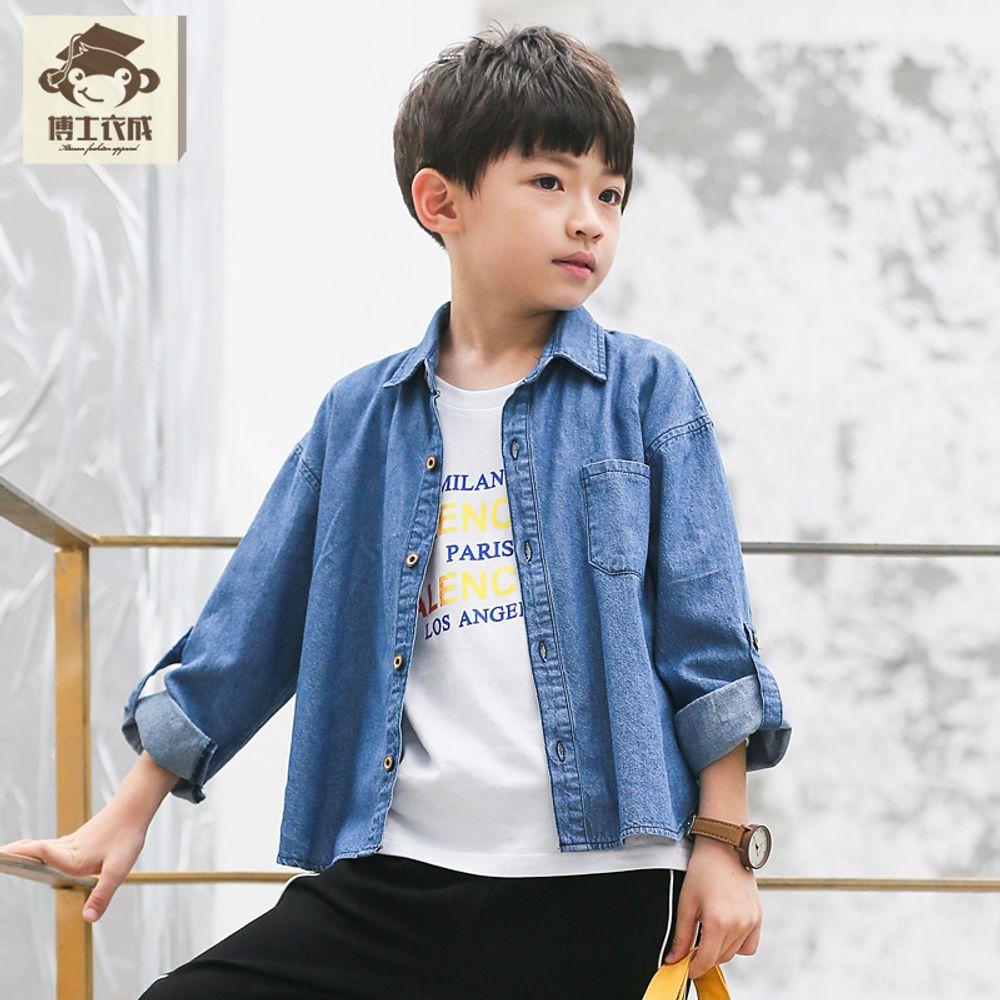 7257e91fc15 [더산직구]소년셔츠 긴소매 가을 데님셔츠 아동의류 남아남방/