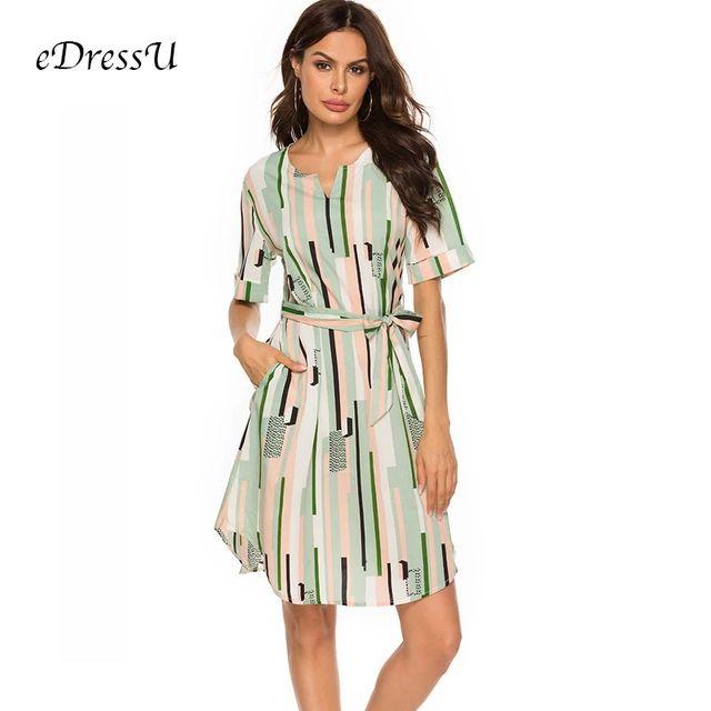 [해외] 신선한 녹색 줄무늬 여름 드레스 여성 느슨한 튜닉 짧