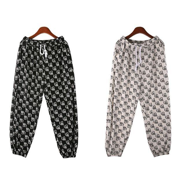 W 문양 패턴 허리밴딩 여성 조거팬츠 SD-210506