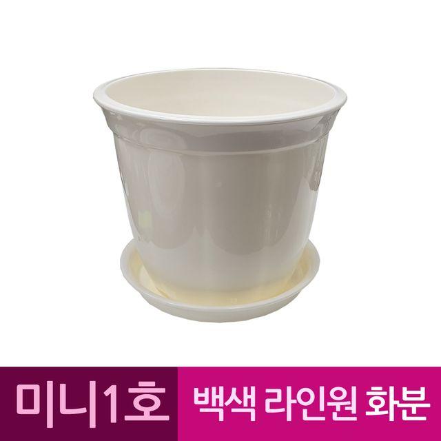 W 라인원형 백색 도자기느낌 플라스틱화분 1호