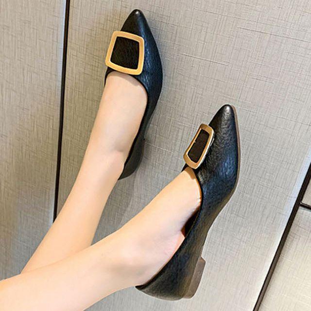 W 사각 금장 포인트 직장인 여자 출퇴근 편한 낮은 구두