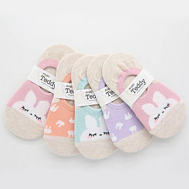 W 유아동 토끼 덧신 패션 귀여운 컬러 양말 5켤레