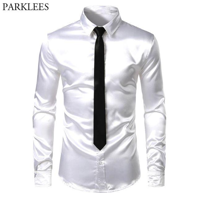 [해외] 남자 2 조각 (셔츠+넥타이) 화이트 실크 새틴 드레