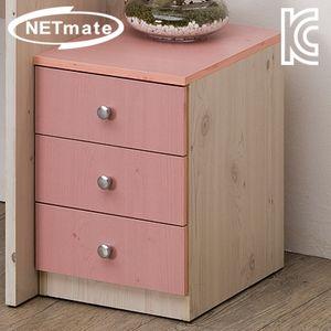 넷메이트 OD305 3단 서랍장 핑크 화장대 속옷 가구