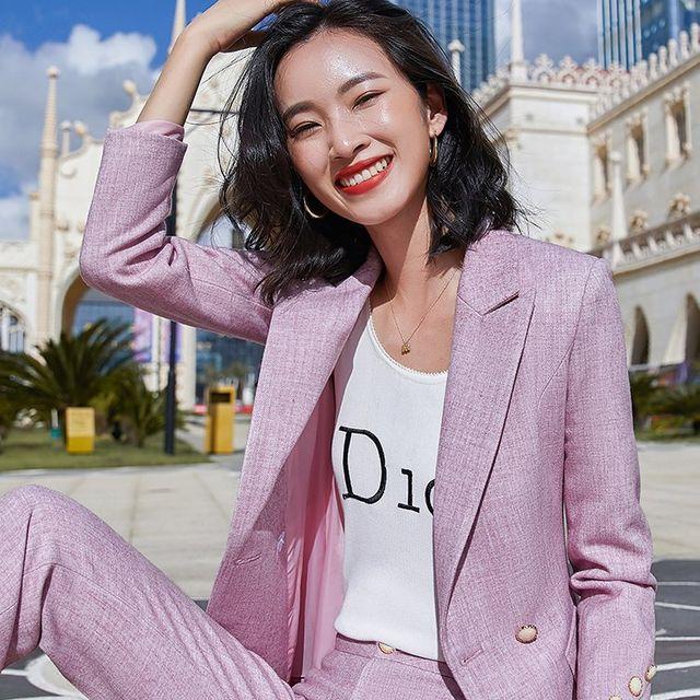 [해외] 여성 패션 재킷 자켓 정장세트 긴팔 작업복 가을
