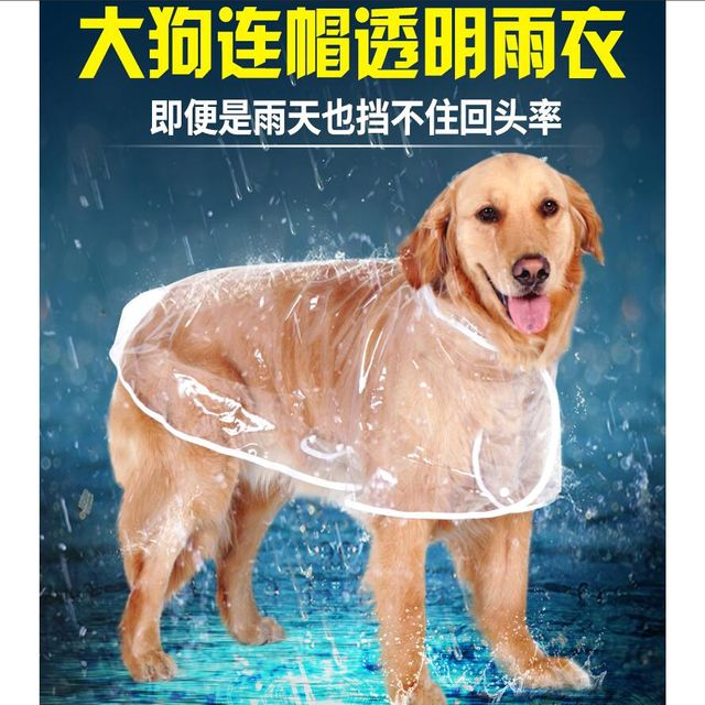 [해외] 대형견 레인코트 강아지 투명비옷 반려동물의상