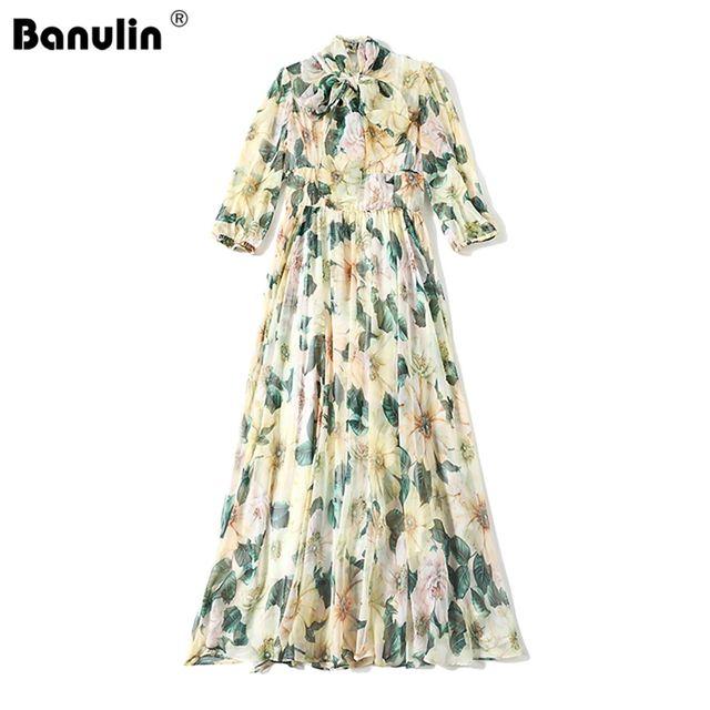 [해외] Banulin 2021 여름 패션 활주로 쉬폰 비치 드레스 여