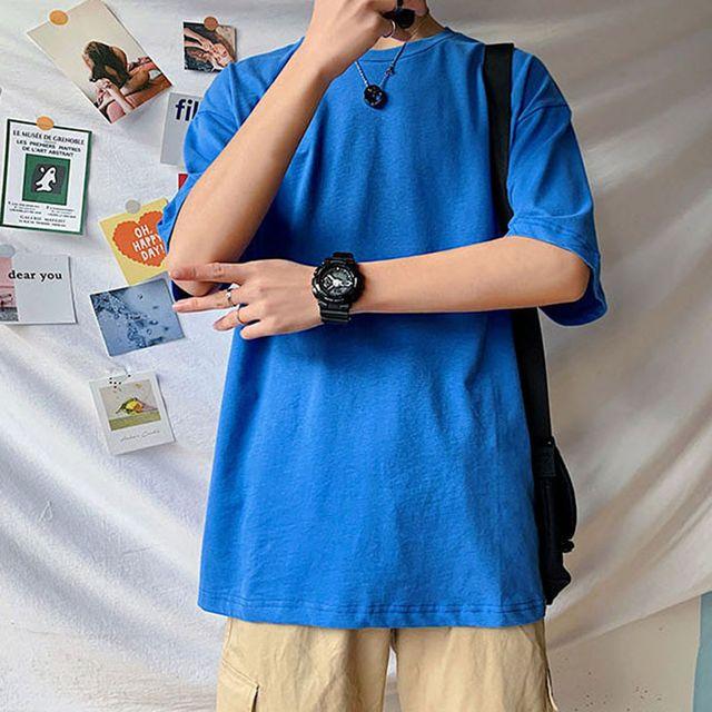 W 남자 오버핏 최신 패션 스타일 와이트 반팔 티셔츠