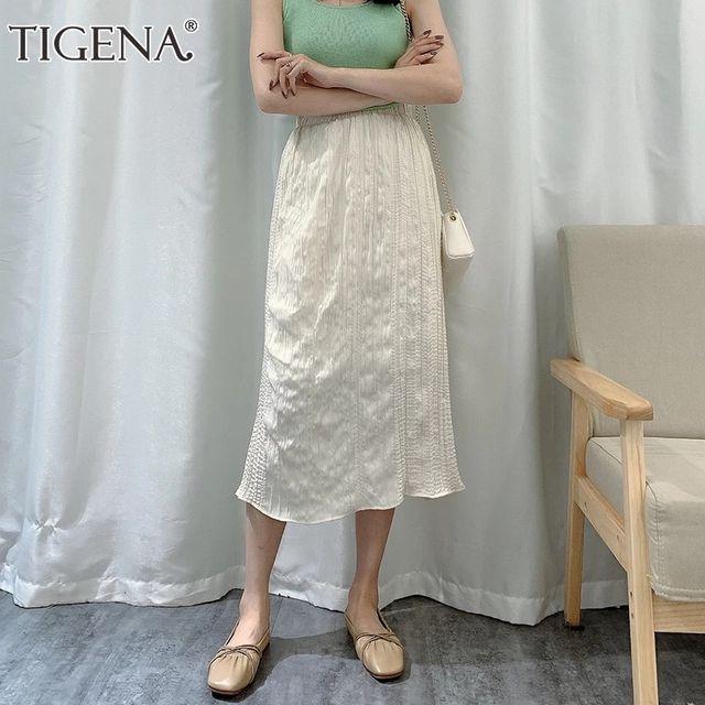 [해외] TIGENA 빈티지 폴드 미디 롱 스커트 여성 패션 2021