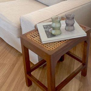 라탄 티크목 인테리어 사각 사이드테이블