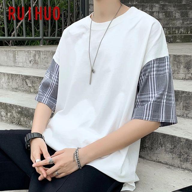 [해외] RUIHUO 2020 새로운 패치 워크 반소매 티셔츠 남성 티