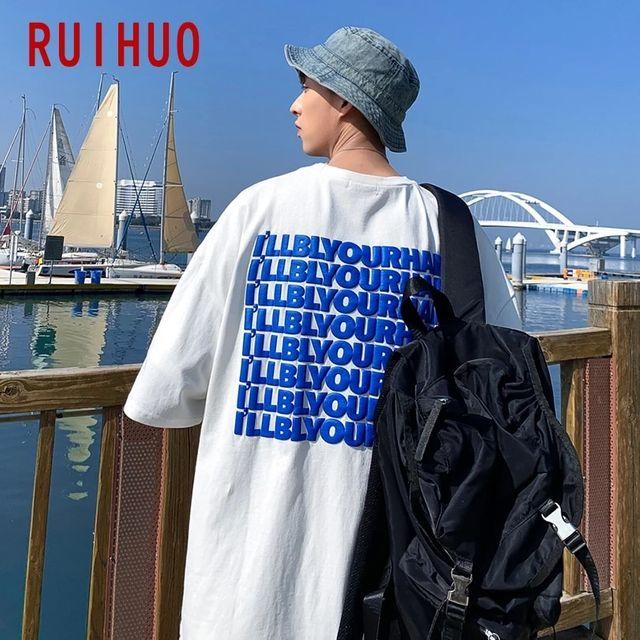[해외] RUIHUO English Elements 캐주얼 T 셔츠 남성용 의류