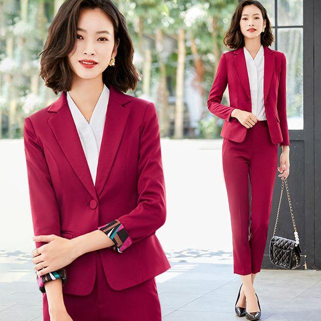[해외] 여성 패션 재킷 자켓 정장세트여대생 인터뷰 정장