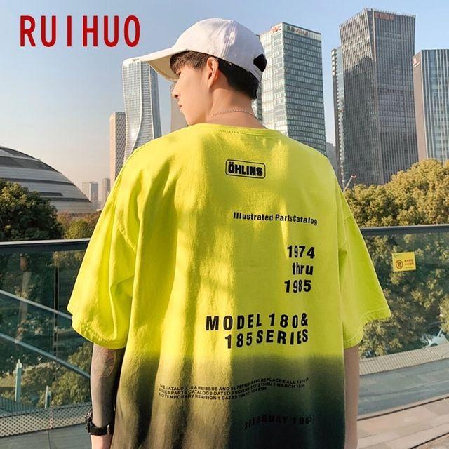 [해외] RUIHUO 그라데이션 컬러 캐주얼 티셔츠 남성 의류 힙