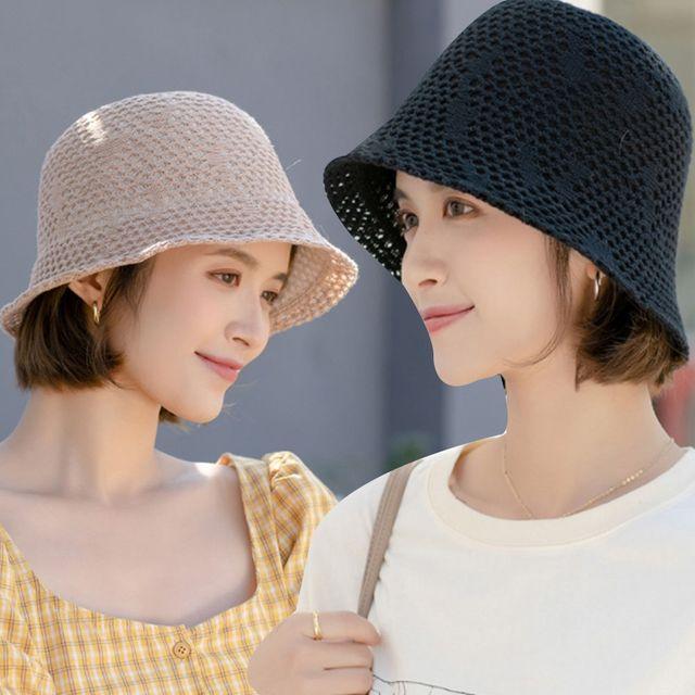 W 펀칭 짜임 디자인 자외선 햇빛 차단 여자 외출 모자