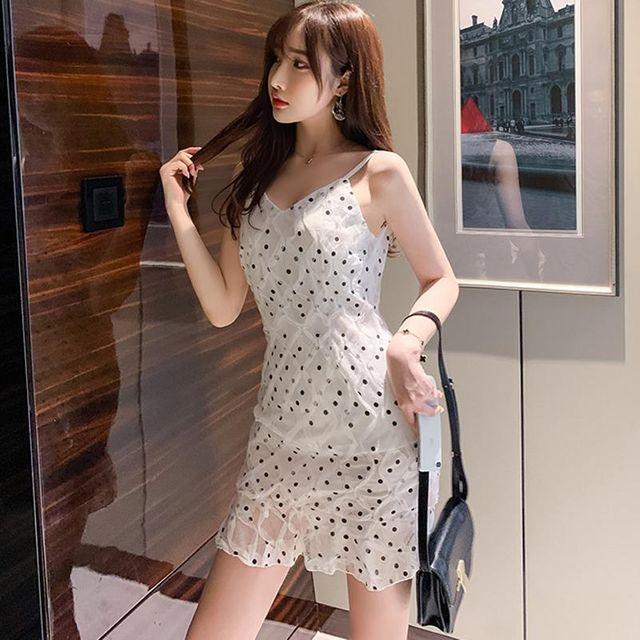 [해외] 여름 도트 나시 브이넥 슬림 파티 드레스