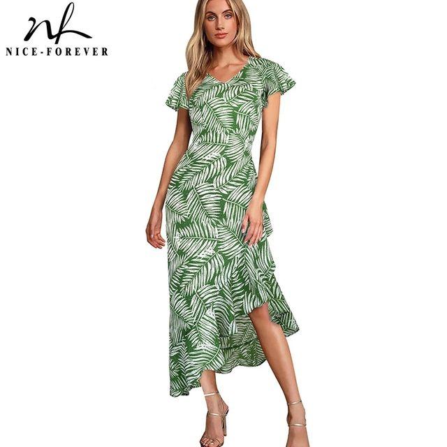 [해외] 니스-영원히 여름 Bono 인쇄 프릴 슬리브 비치 드레스