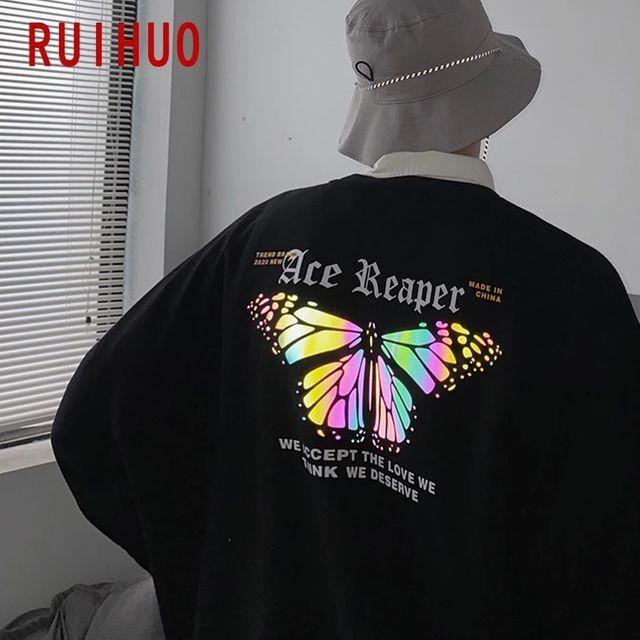 [해외] RUIHUO 반사 나비 스웨터 남성 하라주쿠 Streetwear